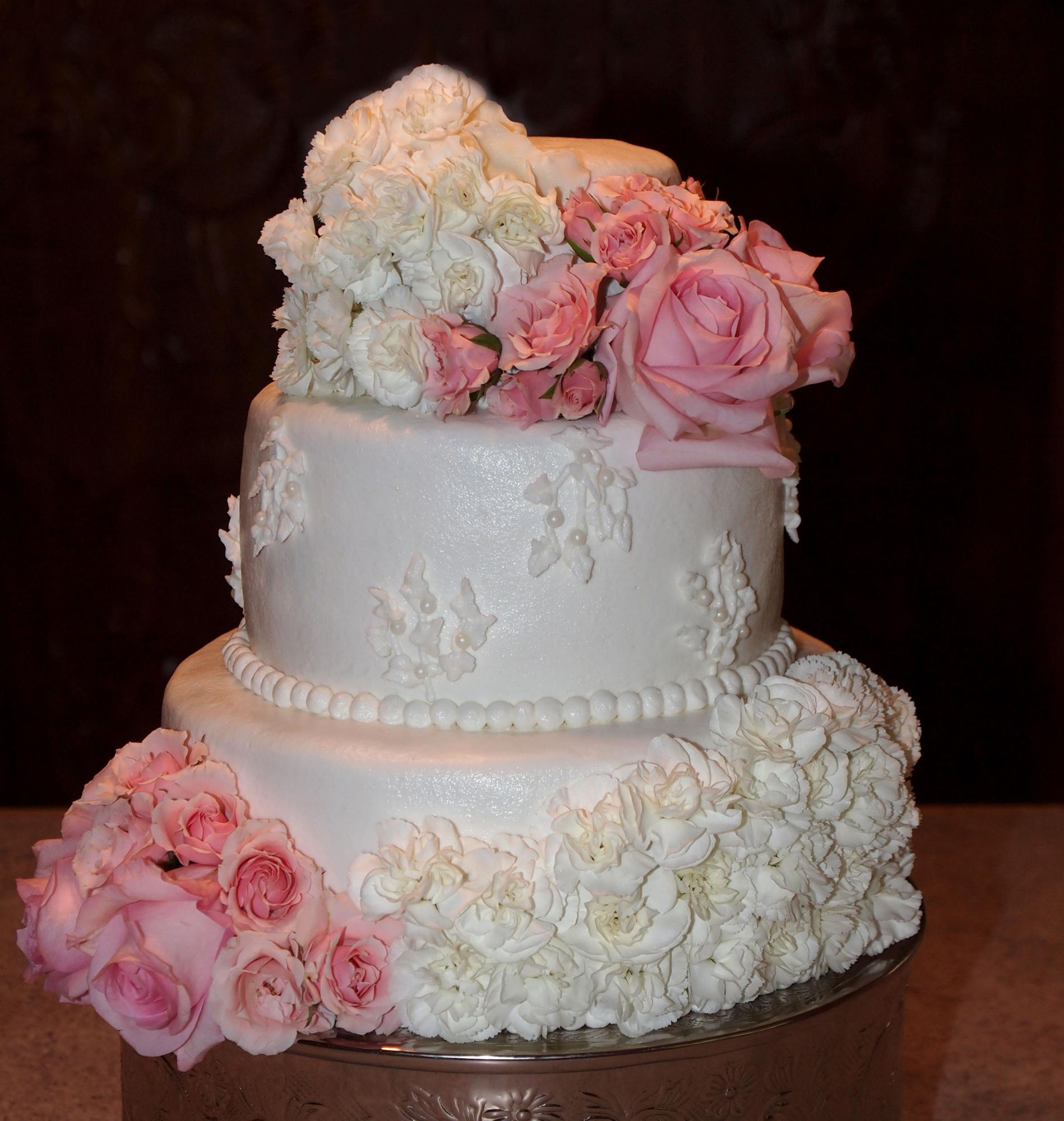 White Rosette Wedding Cake